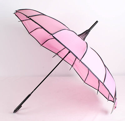 Blooming Brollies Regenschirm Polka Dot Ribbed Pagoda Stick Umbrella - Pale Pink
