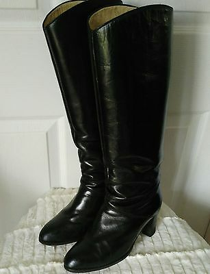 VTG 80s Black Leather Riding Boots Italy High Heel Knee High Slouch Womens SZ 7