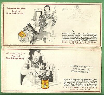 1930 Advertising Blotters BLUE RIBBON MALT EXTRACT Premier Malt Products (2)