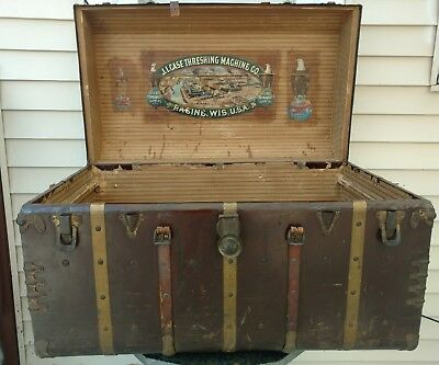 Antique Trunk Rounded Corners With J.I. Case Threshing Company Decals Old Abe
