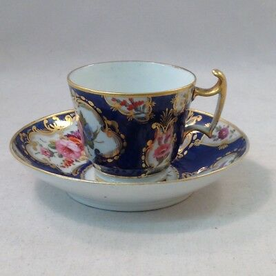 Early Spode Cup and Saucer Hand Painted Flowers Cobalt  and Gilt Antique