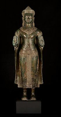 19th Century Antique Lopburi Bronze Protection Buddha Statue - 90cm/33""