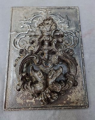 Antique Cast Iron Double-dragons Door Knocker~Escutcheon Plate~Mostly Stripped