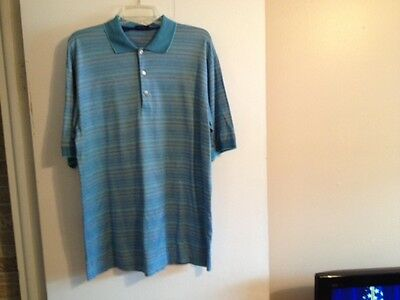 New Men's Size Large Jeff Rose Striped Polo Shirt Made in Italy