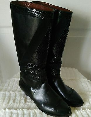 Vintage 80's Black Leather High Boots Low Heel Almond Toe Women's Size 7