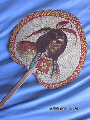 Very Good Vintage 1906 Native American Hand Fan