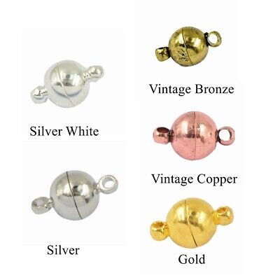 10 Sets Round Brass Magnetic Clasps for Bracelet Necklace DIY Making Findings