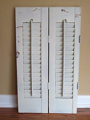 """2 Panel Old Shabby Window Wood Louver Shutters  24"""" x 7"""" Each Off White Color"""