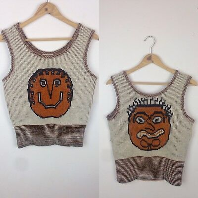 Vintage 70s Sabra Tank Sweater Weird Faces Monster Abstract Creepy Shirt Mod