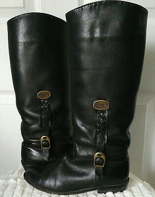 VTG Cristina Black Knee High Boots Equestrian Style Soft Leather Womens Size 8.5