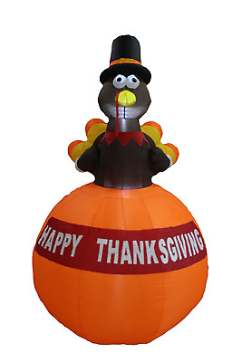 6 Foot Tall Happy Thanksgiving Inflatable Turkey on Pumpkin Yard Art Indoor Outd