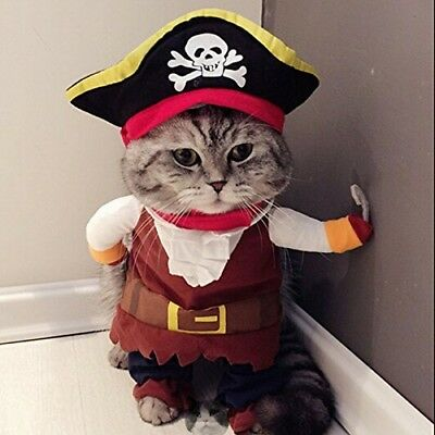 Caribbean Pirate Cat Costume Funny Dog Pet Clothes Suit Corsair Dressing Up For