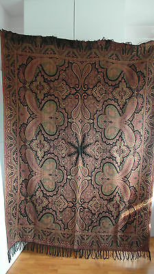 "Large Antique Colorful Folklore Arts & Crafts Dutch Paisley Shawl ""bietkleed"""