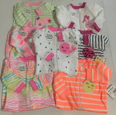 NWT Garanimals Baby Girl 0/3 0-3M Sleeper Pajama Clothes Lot Of 7 Pairs