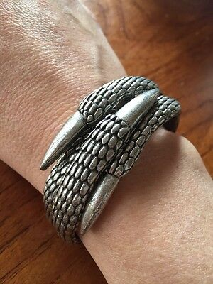 Evil Twin Signed Cuff Claw Bangle Chunky Hinged
