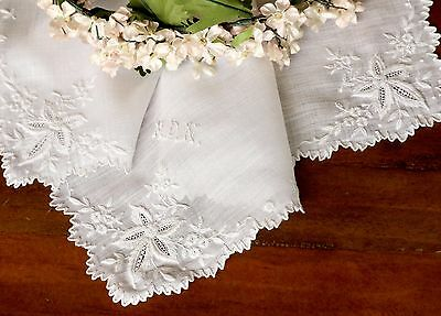 Antique Victorian Appenzell Hanky Monogram MDN Fine Embroidery