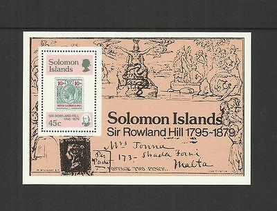 Solomon Islands ~ 1979 Sir Rowland Hill Stamp On Stamps (Mint Set Mh) M/s