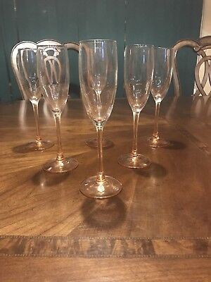 "6 Chris D'Arques Luminarc CHAMPAGNE FLUTES - Made in FRANCE 8-3/4"" Pink Peach"