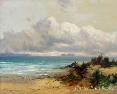 Coastal Scene with Sand Dune by William Langley - Sea Sky Beach 8x10 Print 1208