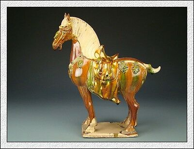 Ancient Chinese Rare Collection Chinese Tang SanCai Glaze Pottery Horse