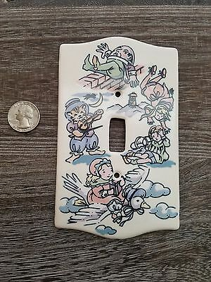 Vintage ceramic handpainted light switch cover-Mother Goose Themed