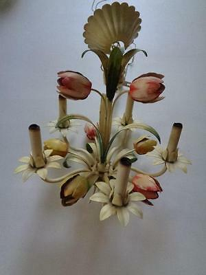 """Tole Toleware Painted Floral 5 Light Arm Candle Chandelier 17"""" x 17"""" 15"""" Chain"""