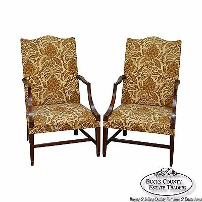 Kindel Winterthur Collection Pair of Mahogany Inlaid Lolling Chairs