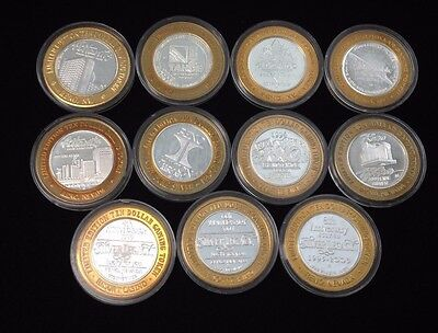 (Lot of 11) $10 Reno Casino Silver Chip Token  ~ Strike Limited Edition #16