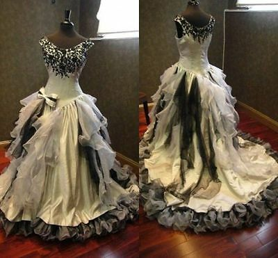 PLUS SIZE WHITE Black Wedding Dresses Gothic Halloween Bridal Ball ...
