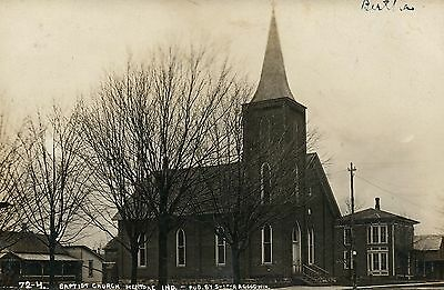 Real Photo RPPC Baptist CHurch Mentone IN Indiana Postcard
