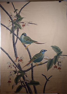 "Antique 47"" Asian Chinese Pigment Painting Cloth Green Birds on Twigs"