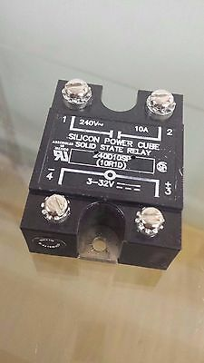Silicon Power Cube Solid State Relay 240D10SP: 240 VAC ~ 10A ~ 3-32 VDC *USED*