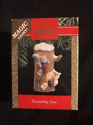 1991 Hallmark Ornament Friendship Tree Owl Squirrel