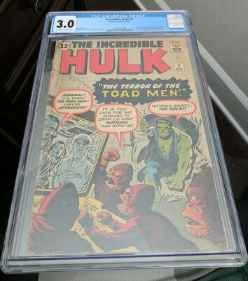 THE INCREDIBLE HULK #2 Green Hulk 1st app CGC 3.0 Marvel Comics 1962 Awesome!