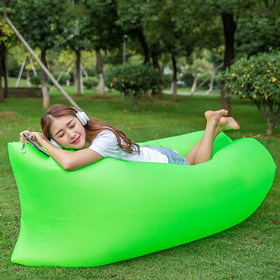 Inflatable Lounger Chair,Outdoor Air Sleeping Bag , Portable Sofa--green