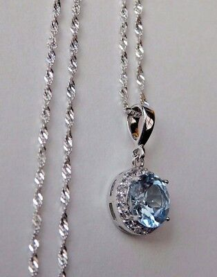 Natural Sky Blue Topaz Halo Pendant Solid 925 Sterling Silver Necklace Chain