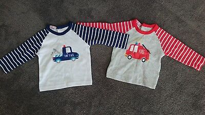 Papoose Boys Long Sleeve T-Shirt x 2 Tagged 6-9 months Twins