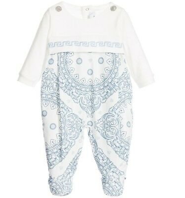 NWT NEW Young Versace baby boys girls Cornici blue white footie romper 6m