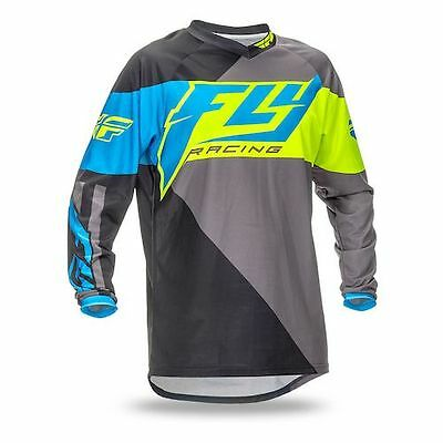 Fly Racing F-16 Motorcross Mx Jersey Hi Vis Fluoro Yellow Blue S , M , L  Bnwt