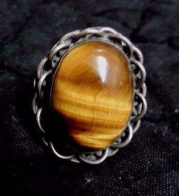 Old Artisan Southwestern Sterling Silver and Tiger Eye Ring