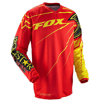 Fox Racing Mens Rockstar Motorcross Mx Hc Jersey Red Yellow Large Bnwt