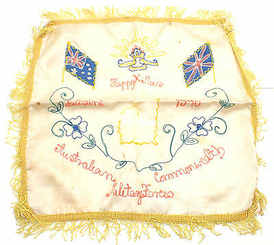 WWII Australian Embroidered Silk Happy Xmas Cloth from Palestine 1940