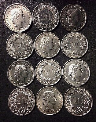 Old Switzerland Coin Lot - 20 RAPPEN - 12 Excellent Coins - FREE SHIPPING
