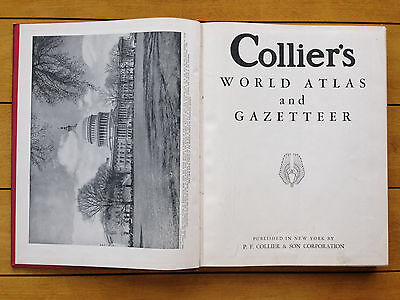 Colliers World Atlas and Gazetteer 1938 Vintage Large Map Pages Complete v nice!