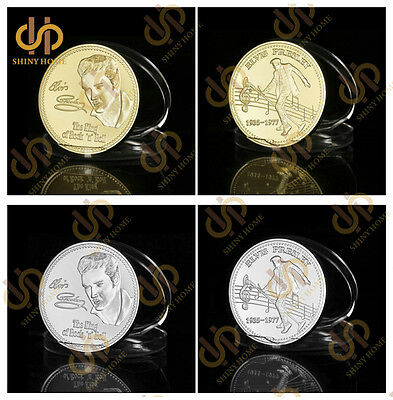 2Pcs/Lot The King of Rock and Roll Elvis Presley Gold/Silver Coins Collection