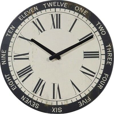 NIKKY HOME British Style Vintage Silent Round Wood Wall Clock 12 Inch