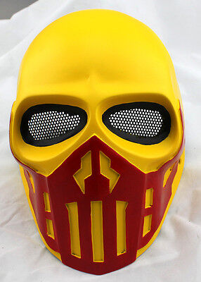 Yellow Fiber Resin Wire Mesh Eye Airsoft Paintball Full Face Protection Mask