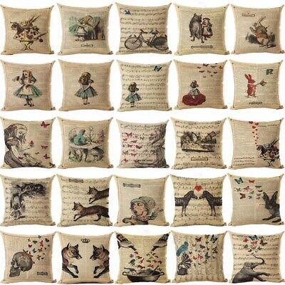 Alice In Wonderland Cotton Linen Throw Pillow Cushion Cover Case Sofa Decor Home