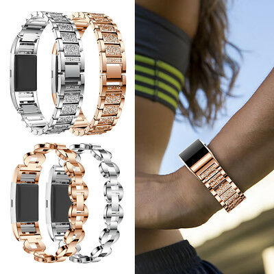 Smart Watch Crystal Stainless Steel Watch Band Wrist Strap For Fitbit Charge 2