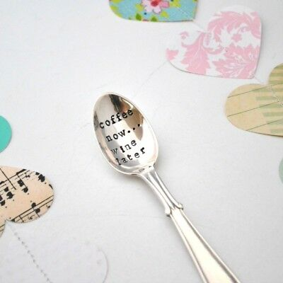 NEW Coffee now... wine later hand-stamped vintage teaspoon by Silver Spoon Vinta